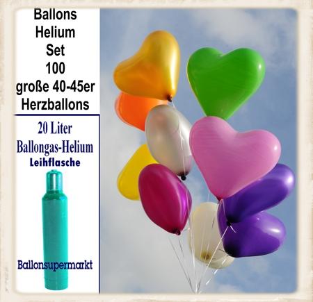 Ballons Helium Set mit 100 großen Herzluftballons 40-45 cm
