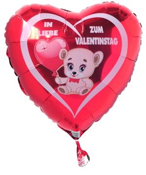 In Liebe Zum Valentinstag. Wunderschöner Helium Luftballon Aus Folie In  Herzform