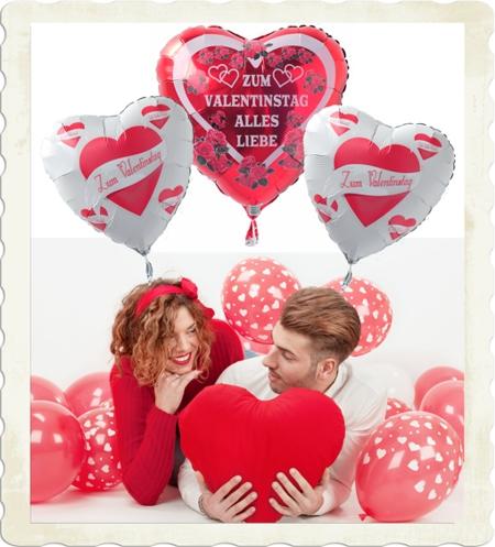 luftballons und helium-luftballons zum valentinstag